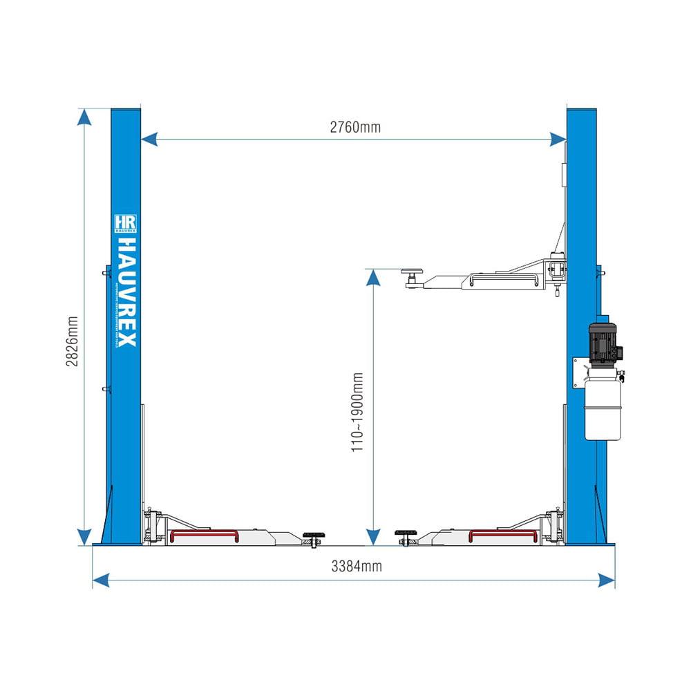 Cầu nâng ô tô 2 trụ giằng dưới Hauvrex HTL2140