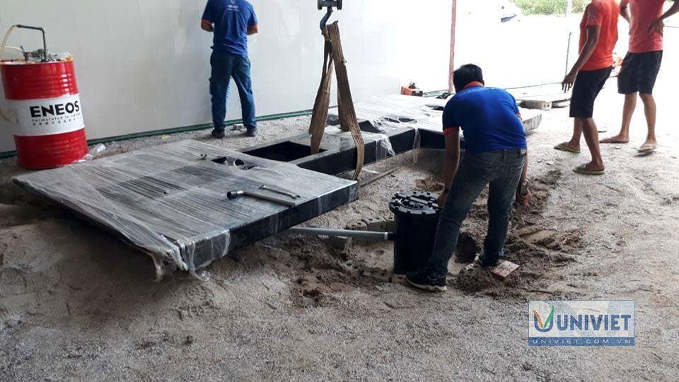 Lắp đặt ty ben và bàn nâng âm nền cầu nâng 1 trụ Senok