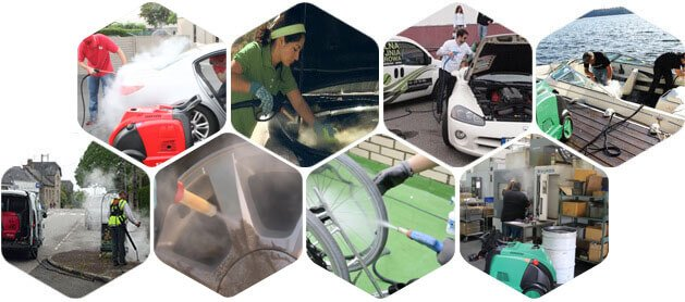 Ứng dụng của máy rửa xe hơi nước nóng Optima Steamer XE