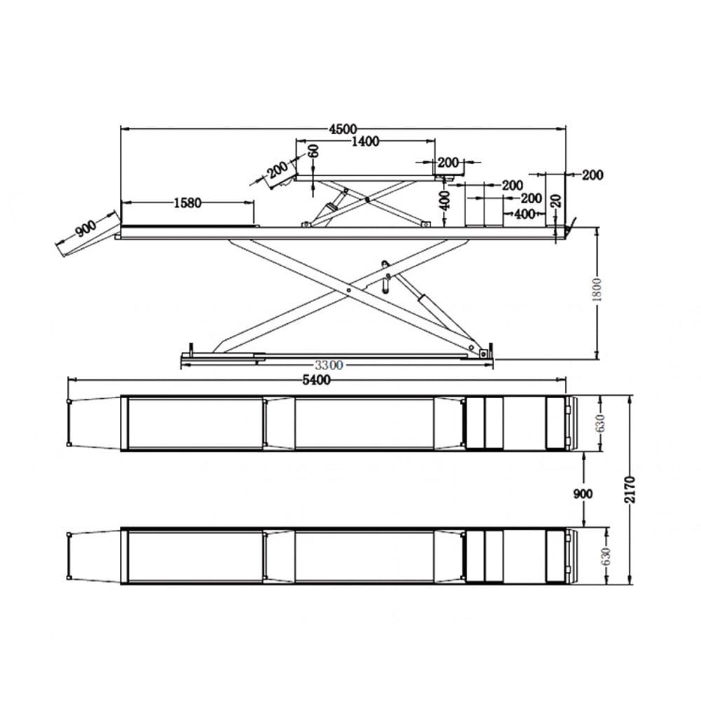 Cầu nâng cắt kéo 3.5 tấn UNIKA U-6108D